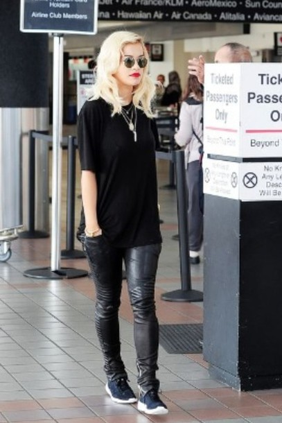 pants rita ora leather pants