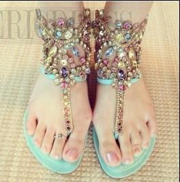 Sweet Summer Flat Sandals with  Shining Rhinestones Flats Sandals- ericdress.com 10891688