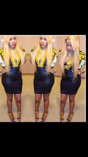shirt,versace,blackbarbie,leather skirt,instagram,fashion,swag,summer trends,summer outfits,club outfits,red lipstick,button up blouse,pencil skirt,guiseppe zanotti,kanye west shoes,black gold heels,strappy black heels,gold wings