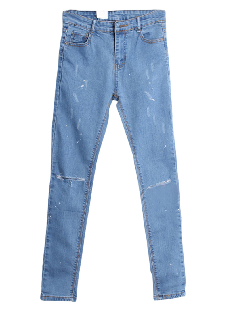 Blue Distressed Skinny Jeans With Painting Print - Choies.com