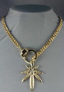 """New"" Handcuff Pot Leaf Pendant Chain Necklace w Rhinestones Marijuana   eBay"