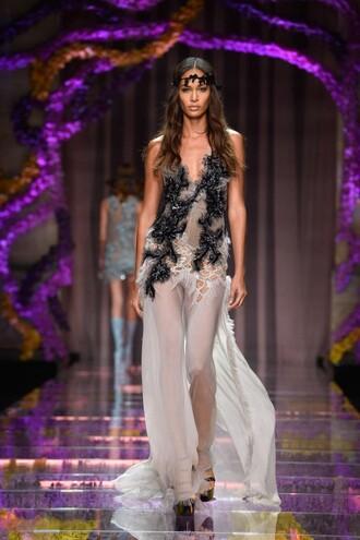 dress gown joan smalls sheer sexy fashion