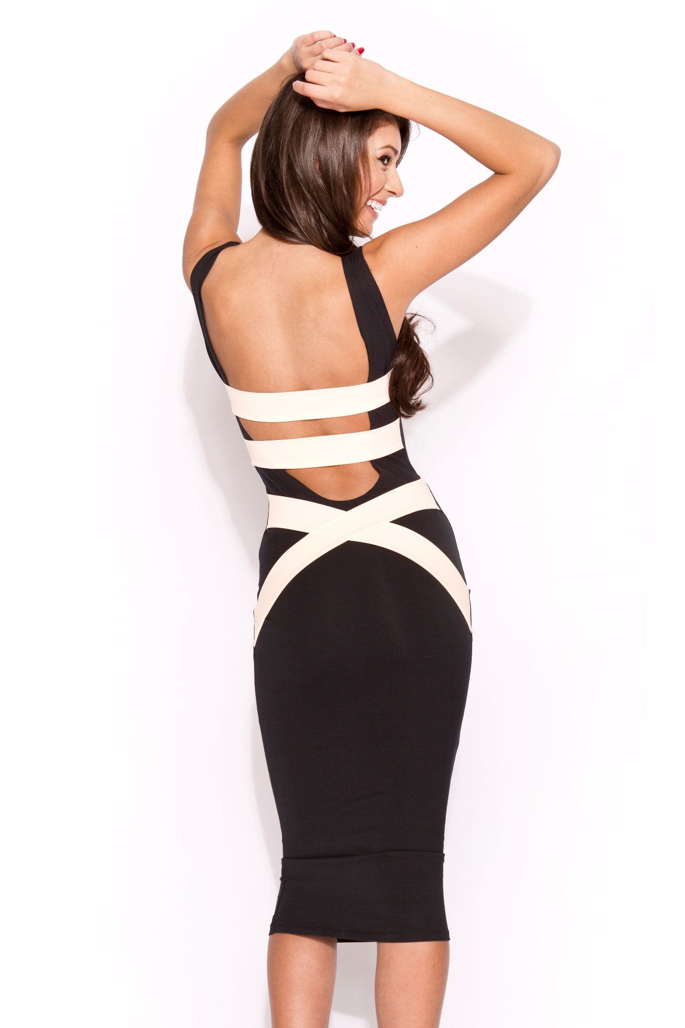 Black Little Black Dress - Q1056 Quontum Peach/Nude Strap Midi | UsTrendy