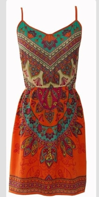 tribal pattern colorful dress spagetti staps dresses
