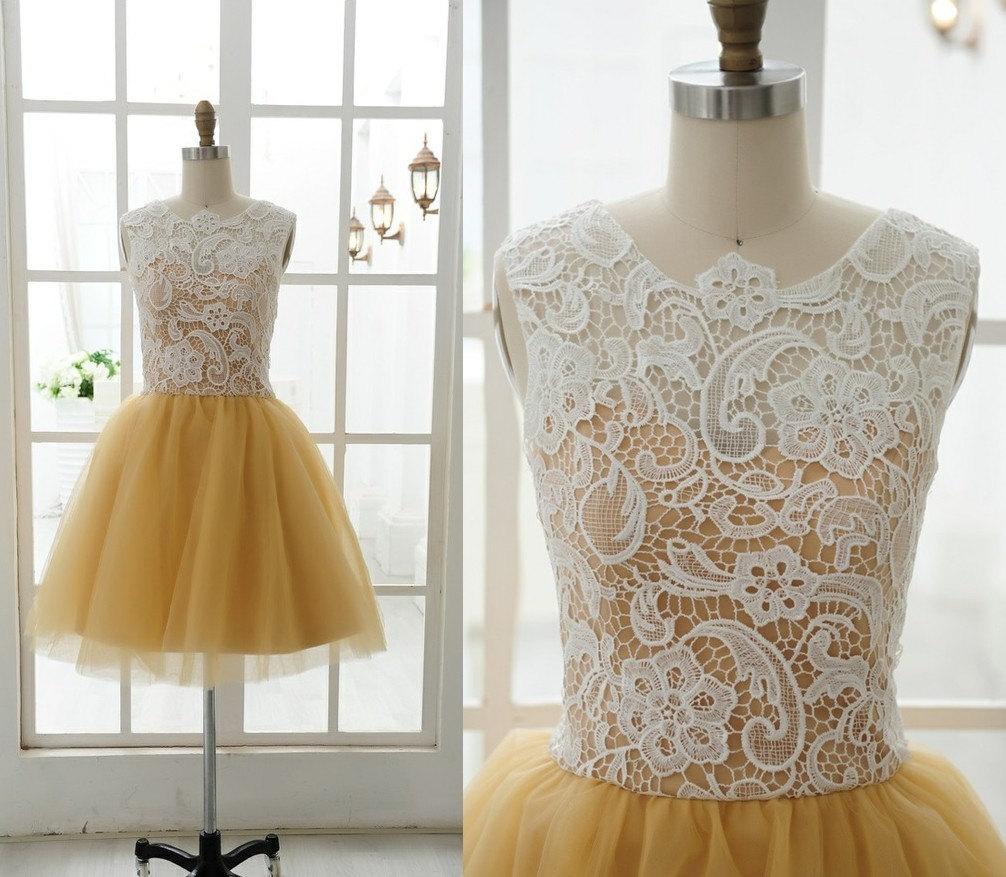 Tüll Brautjungfer Kleid Prom Kleid gelb Tüll Kleid Knie kurze ...