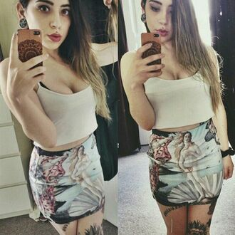 skirt printed skirt full print all over print all over printed skirt sexy girl girly selfie cool high waiste short short skirt aphrodite art high waisted renaissance religious tank top lips white top high waisted skirt