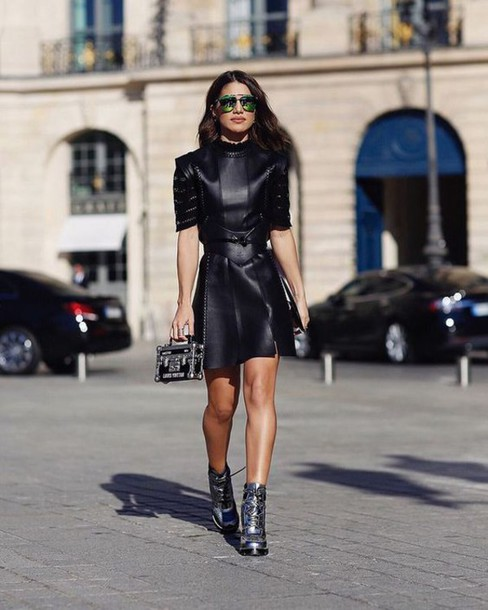 Dress Tumblr Black Dress Mini Dress Leather Dress Boots Silver