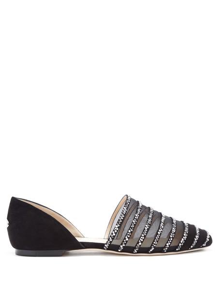 Jimmy Choo mesh embellished flats suede black shoes