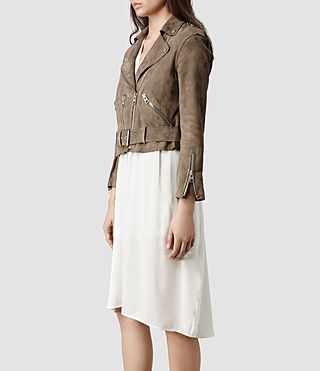 Womens Hind Leather Biker Jacket (PALE) | ALLSAINTS.com