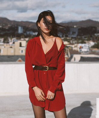 dress tumblr red dress red mini dress mini dress shirt dress slip dress belted dress belt tights date outfit