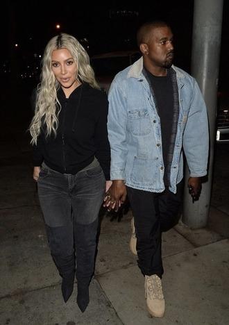 shoes boots kim kardashian kanye west denim jacket menswear jeans celebrity streetstyle
