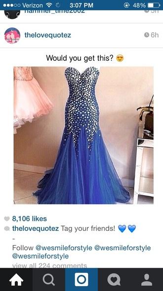 dress royal blue royal blue prom dress gems dress