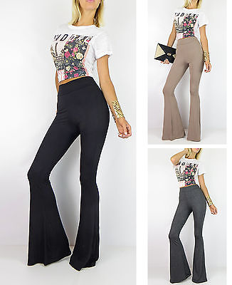 ab2fadfe7 New High Waist Bell Bottom Long Flare Pants Stretch Black Gray Boho Hippie  SML | eBay