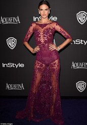 alessandra ambrosio,golden globes 2015 after party,zuhair murad