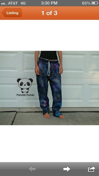 pants galaxy print galaxy pants sweatpants colorful print girly comfy girl cute nice pretty lazy day stars blue navy black purple sweats harem pants dope hipster bomb trill tumblr baggy