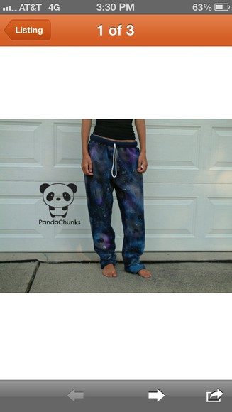 star girl stars blue galaxy pants galaxy pants sweatpants colorful print girly comfy cute nice pretty lazy lazy day navy black purple