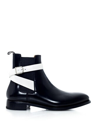 boots chelsea boots leather white black shoes