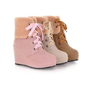 14726 winter women ladies cute 3 colors 3 way lace up wedge boots shoes 34