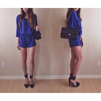 romper royal blue lose fit bag shoes blue romper