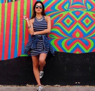 dress dress bodycon blue white stripes cute summer