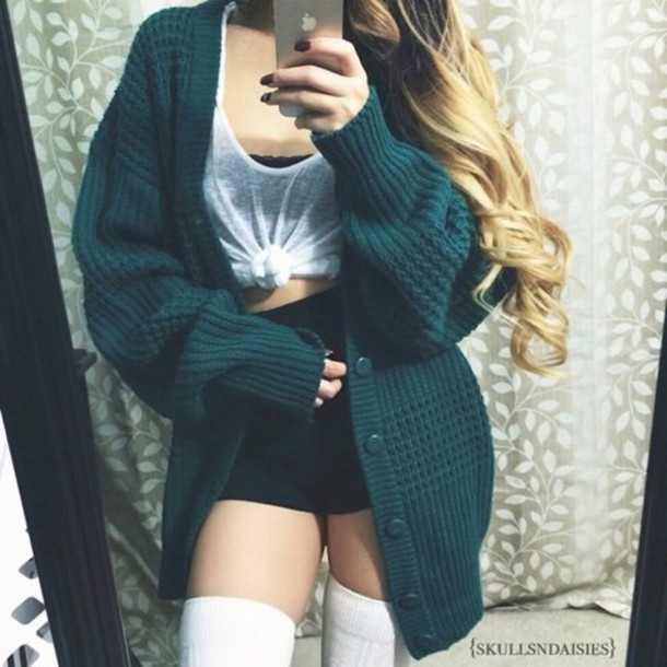 cardigan t-shirt skirt