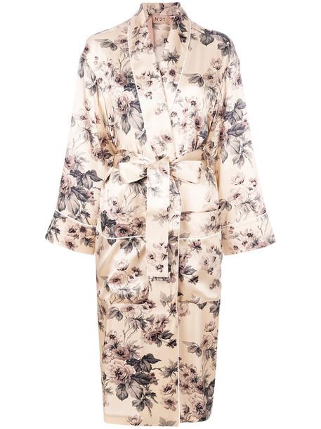 No21 coat women floral nude silk