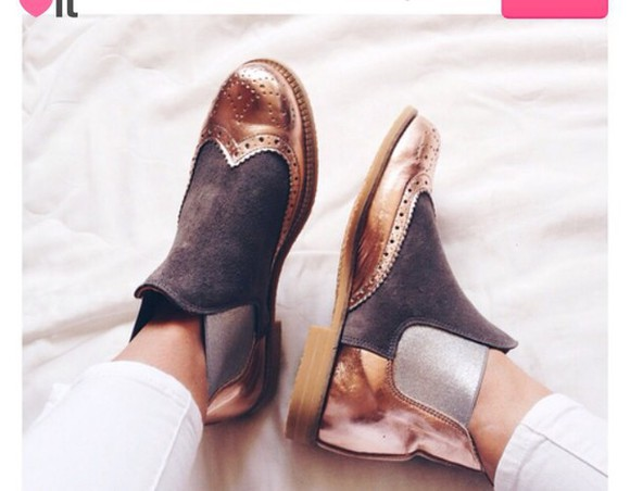 shoes metallic gold oxfords
