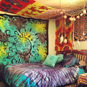 dress,hippie,tapestry,tumblr bedroom,bedding,tie dye,spiritual,dreamcatcher,jewels,home decor,home accessory,scarf,t-shirt,blue,duvet cases,indie boho,bedroom,purple,art,earphones,jacket,tie dye comforter,blanket,wall tapestry
