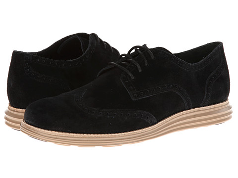 Cole Haan LunarGrand Wing Tip Black Suede - Zappos.com Free Shipping BOTH Ways