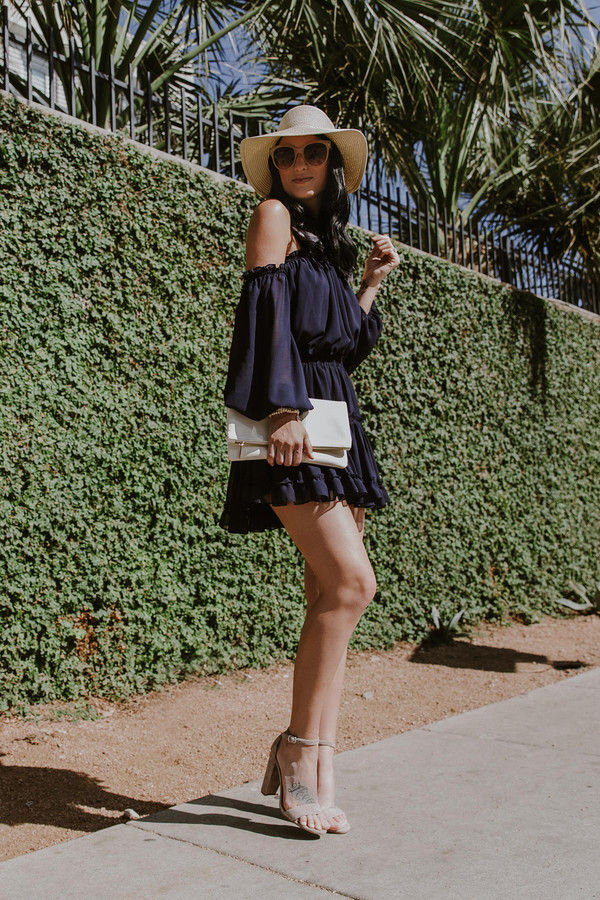 dress misa los angeles blue and cream summer summer dress off the shoulder off the shoulder dress flowy summer outfits black dress