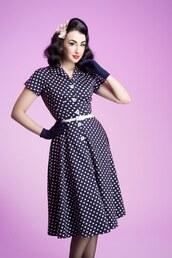 50s style,cute dress,vintage,polka dots dress,rockabilly dress,rockabilly style,vintage dress,swing dress,navy dress,polka dots,housewife dress