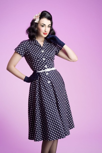 50s Style 50s Style Cute Dress Vintage Polka Dots