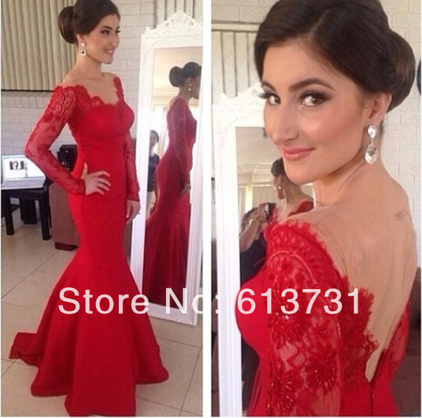 dress v neck sexy long sleeves red lace mermaid prom dress prom gown senior prom