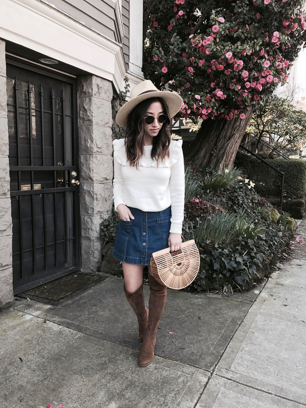 crystalin marie blogger sweater skirt shoes bag hat sunglasses top jeans thigh high boots boots denim skirt mini skirt