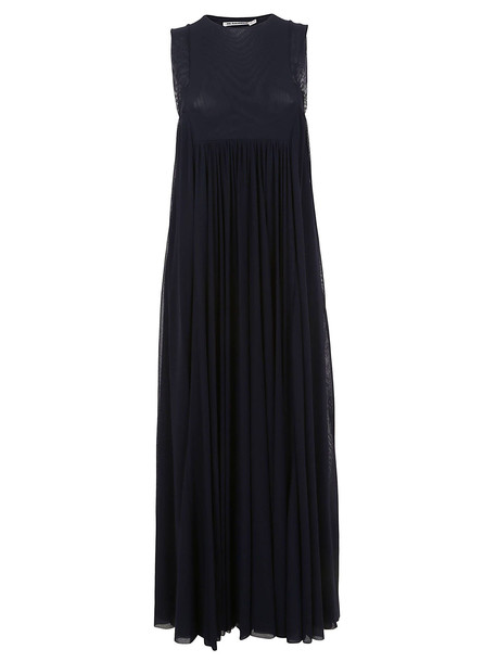 Jil Sander Pleated Maxi Dress in navy