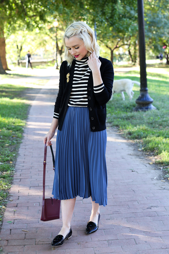 poor little it girl blogger skirt cardigan shirt bag striped turtleneck stripes striped top pleated skirt pleated blue skirt midi skirt bomber jacket baseball jacket teddy jacket black jacket