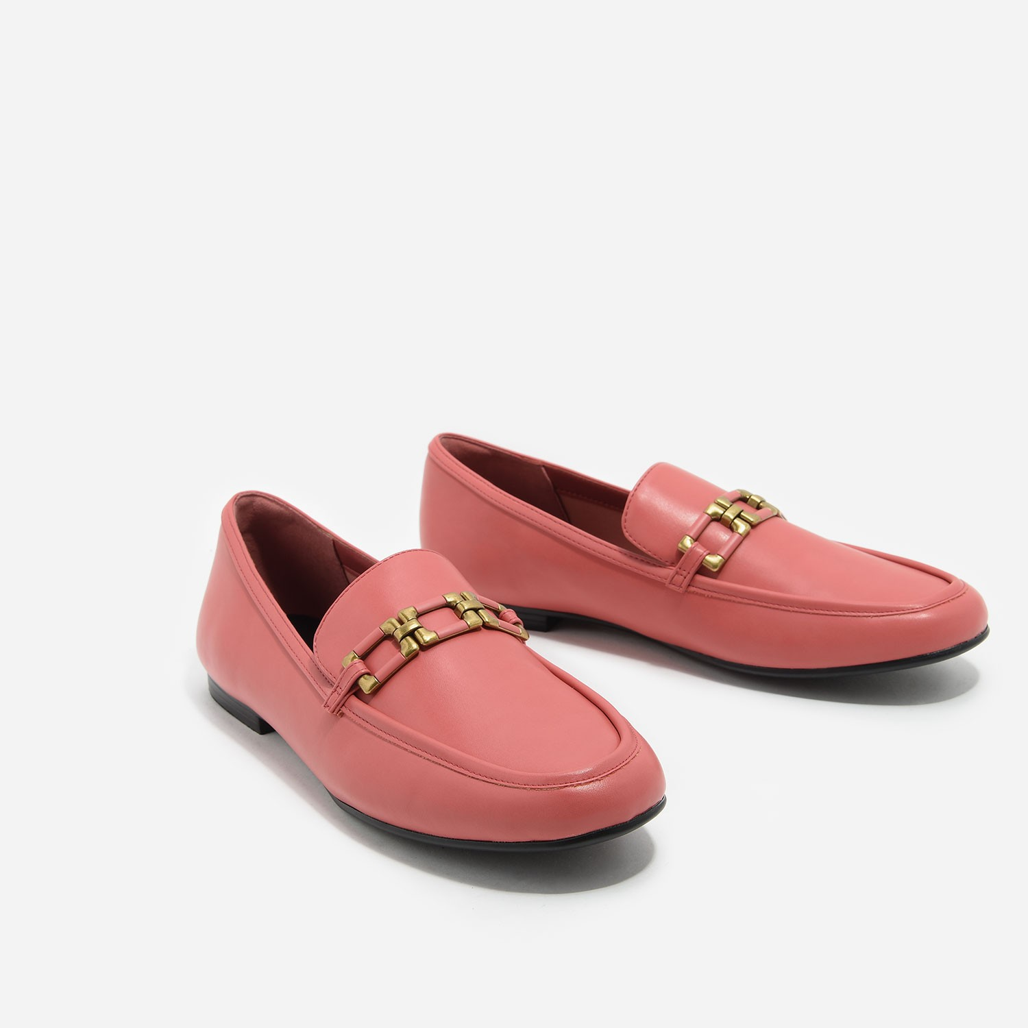 Pink Gold Detail Loafers | CHARLES & KEITH