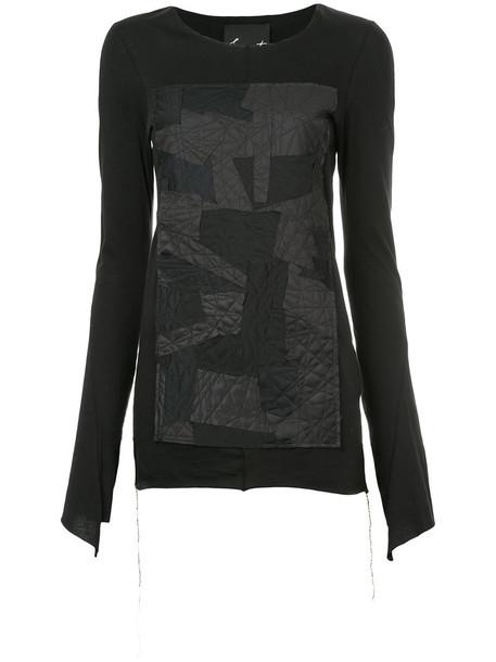 Fagassent - patchwork long-sleeved T-shirt - women - Cotton/Modal - 1, Black, Cotton/Modal