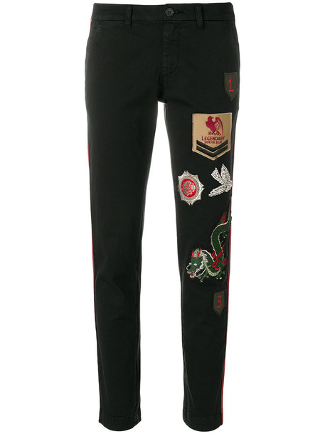 P.A.R.O.S.H. patchwork women spandex cotton black pants