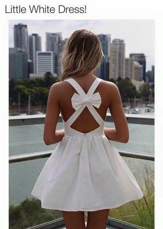 dress white dress bow open back dresses