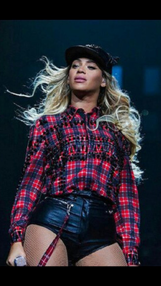 plaid shirt shirt beyonce fashion spring summer 2014 hoodie, red, flannel, plaid ring,gold,beyonce ,spikes spikes plaid button down grunge fashion punk beyonce shirt glitter snapback beyonce snapback hat with two cat ears blackbarbie