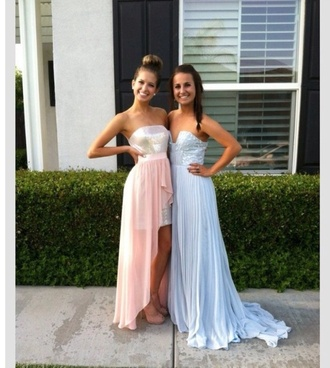 dress prom prom dress long prom dress high-low dresses blue pink light blue light pink hot pink sequins sweetheart dress sweetheart neckline cute pretty chic fancy fashion clothes beaded