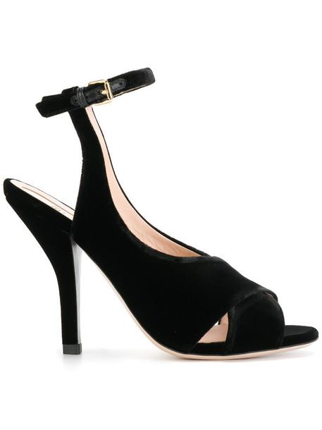 Fendi women sandals leather black velvet shoes
