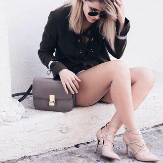 bag tumblr grey bag shirt khaki lace up shoes lace up heels nude shoes sunglasses blouse