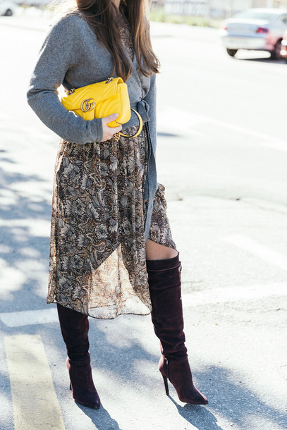 Sweater tumblr grey sweater yellow yellow bag gucci gucci bag boots brown boots high ...
