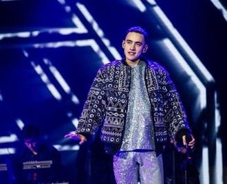 jacket blue blue jacket sequins ysl bomber jacket olly style shiny