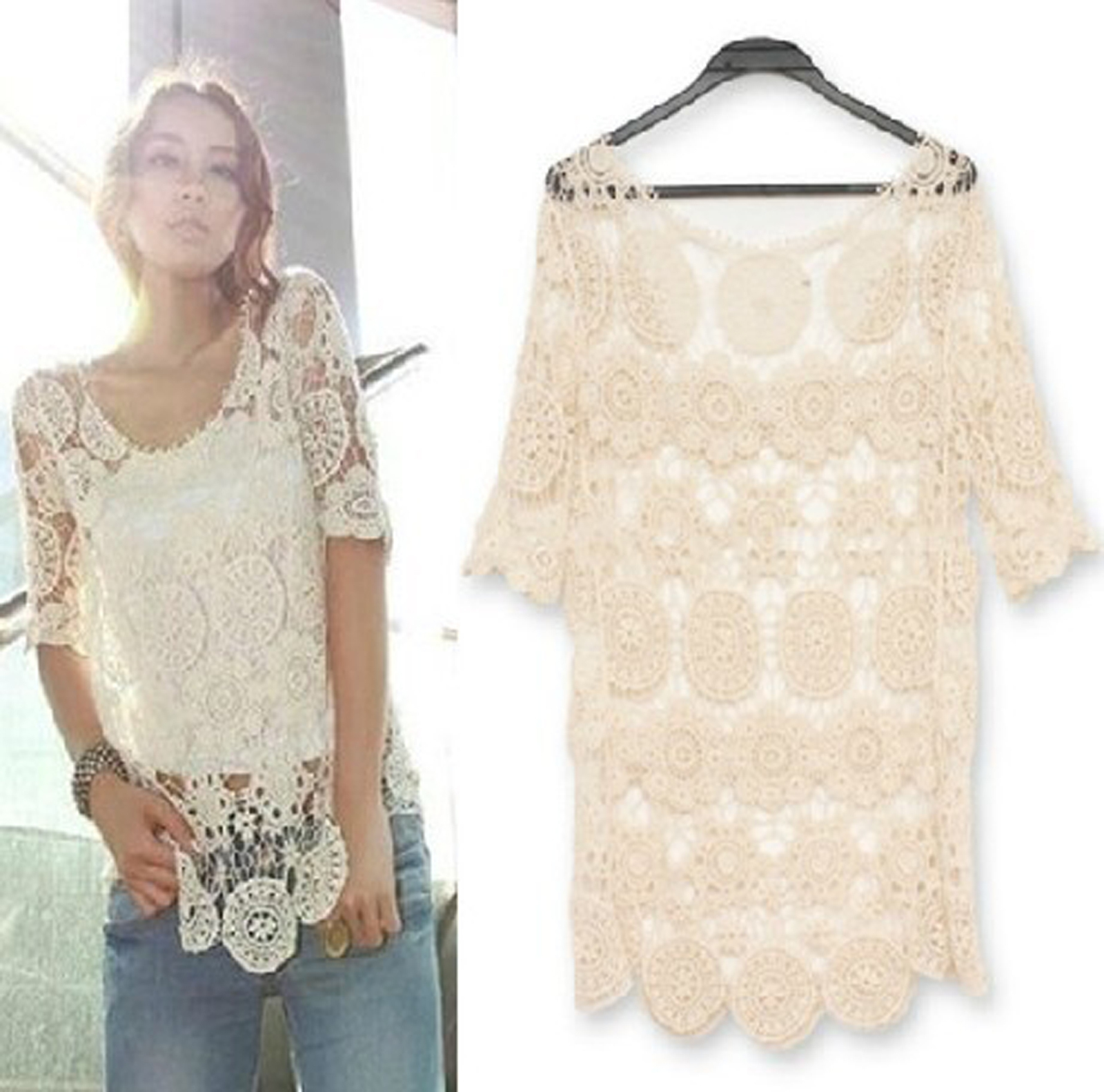 Beige lace crochet top  from Whitelily Fashion on Storenvy