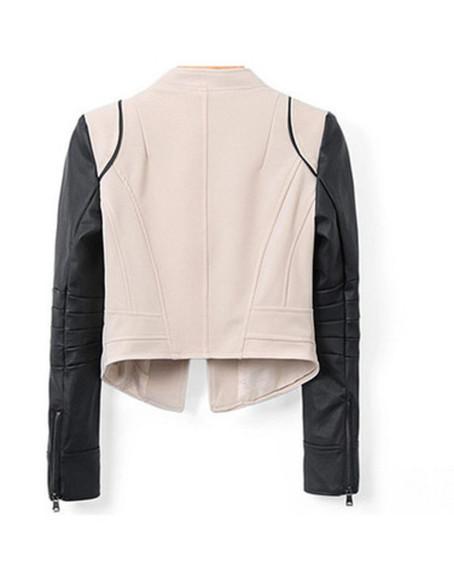 color block jacket fashion fall outfits leather jacket khaki black style