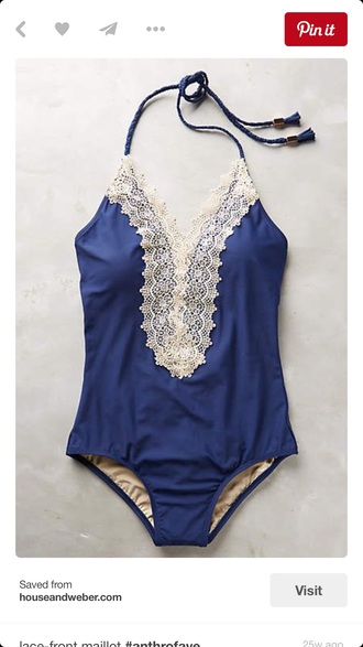 swimwear one piece swimsuit blue lace fashion style trendy beach rose wholesale-ma