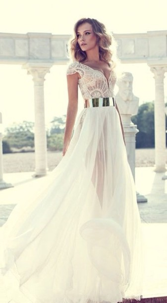 dress prom dress long white lace belted wedding gown sheer bridial dress lace bridal dress julie vino